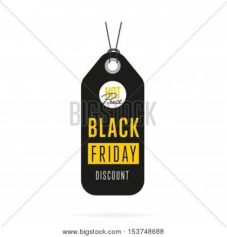 Black Friday sale tag sticker vector isolated. Discount or special offer price tag on Black Friday. Promo offer or ad offer on special shopping day.