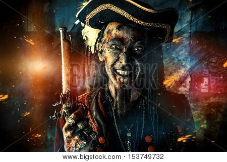 Portrait of a noble brave dead pirate. Zombie pirate. Halloween.