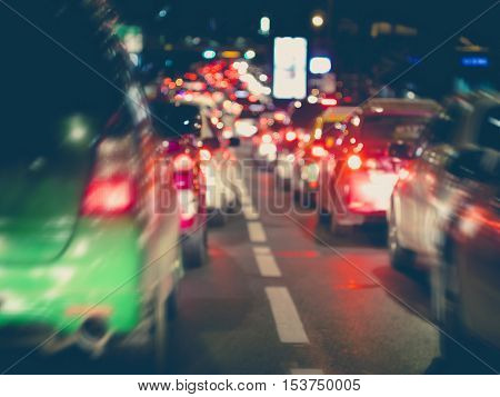 Traffic jam Cars on highway road driving slow Rush hour