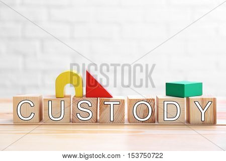 Word CUSTODY made of wooden cubes and toys on wall background