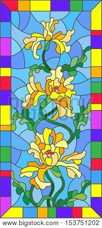 Illustration in stained glass style with flowers buds and leaves of yellow iris in bright frame