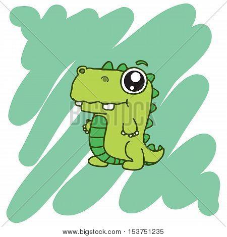 illustration of green dinosaur T-Shirt design vector