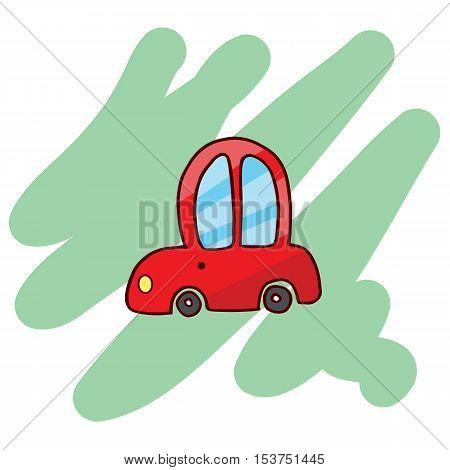 Funny red car T-Shirt illustration Vector illustration
