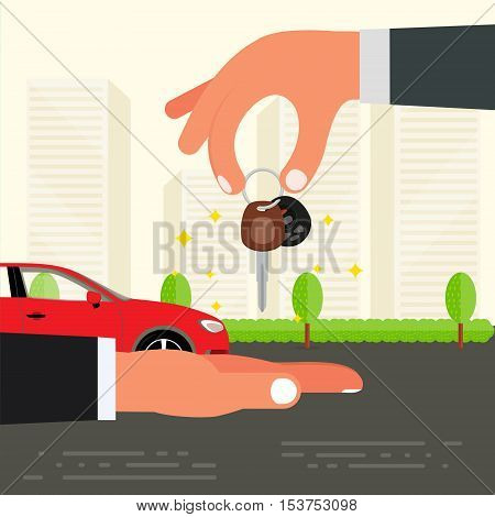 Purchase sell or buying of car concept design. Seller hand holding car key and passing it to buyer. Successful deal or driving test exam vector illustration.