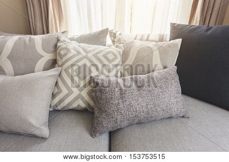 Pillows on sofa Room interior Home Decoration background