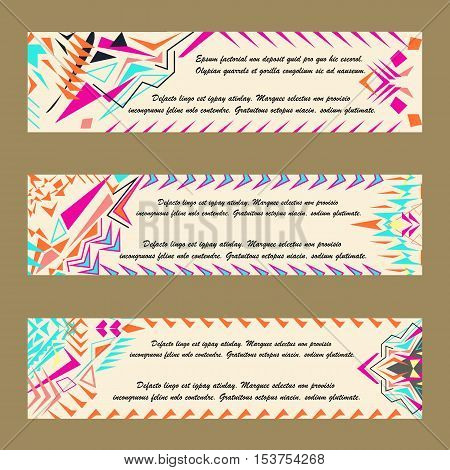 Vector set of colorful horisontal banners for business and invitation. Abstract geometric ornaments. Native american indian motifs. Boho style