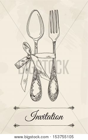 Hand drawn vector illustration of curly cutlery and bow on a beige background watercolor background and texture. Table setting set. Hand drawn design element. Sketch, vintage. Vector Illustration.