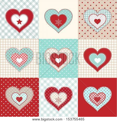 Set of decorative red hearts on various patterns, winter motive, illustration in country style, vector, eps 10