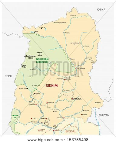 Road map of the Indian state Sikim