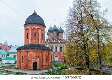 Vysokopetrovsky Orthodox Monasteryin in the Bely Gorod of Moscow, Russia.