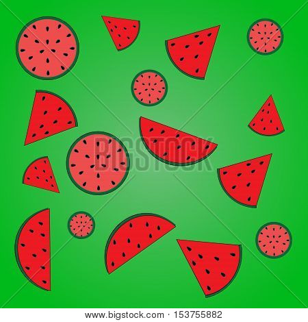 vector illustration of a watermelon pink and red pulp with seeds and slices of watermelon with seeds on a bright green gradient background