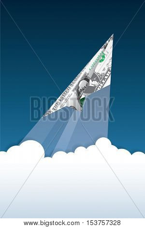 vector symbolic abstract illustration for dollar growing, finance background