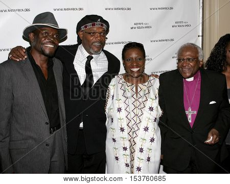 Thandi Tutu-Gxashe, Samuel L. Jackson and Desmond Tutu at the Archbishop Desmond Tutu's 75th Birthday Party held at the Regent Beverly Wilshire Hotel in Beverly Hills, USA on September 18, 2006.