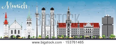 Munich Skyline with Gray Buildings and Blue Sky. Vector Illustration. Business Travel and Tourism Concept with Historic Architecture. Image for Presentation Banner Placard and Web Site.