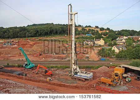 mobile drill on a road construction site