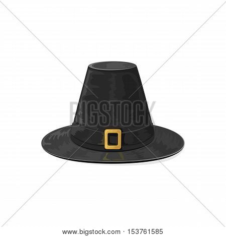 Happy Thanksgiving day theme, black pilgrims hat with golden buckle, icon isolated on white background, illustration.