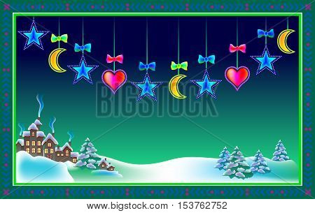 Christmas greeting card with winter landscape, vector cartoon image.
