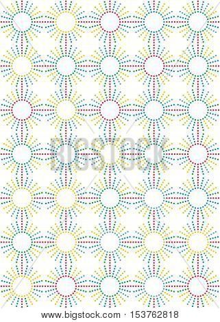 Abstract background with sun striped seamless color dots pattern