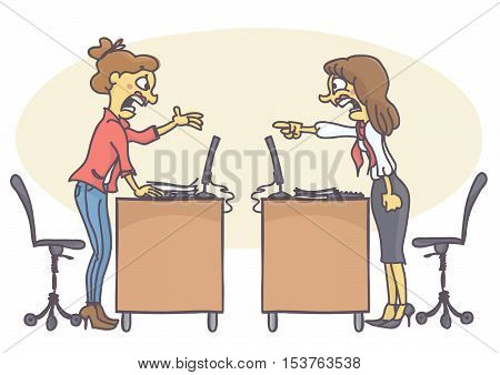 Two woman coworkers arguing in the office. Vector cartoon of colleagues at work screaming and yelling at each other, having a conflict