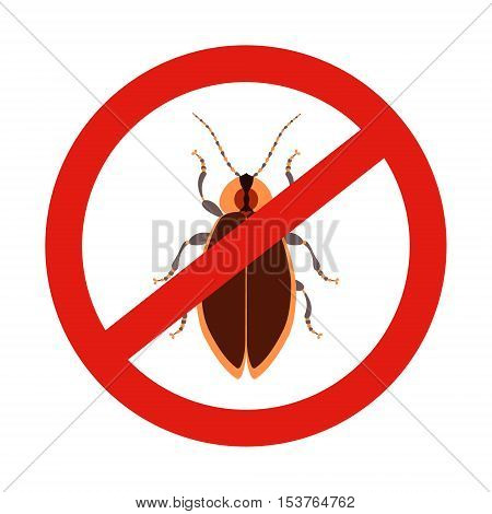 No bugs sign. Prohibition sign with a pest. Insect repellent emblem. Vector illustration for your design.