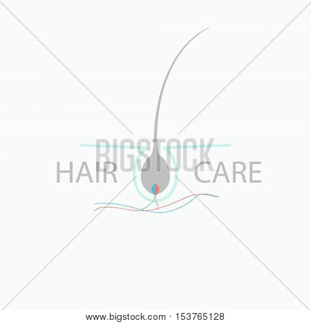 Hair medical diagnostics symbol. Hair care logo. Vector illustration of a hair bulb and blood vessels.