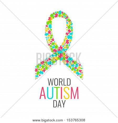 World Autism Day. Autism awareness poster with a ribbon made of multicolored puzzle pieces on white background. Autism solidarity day. Vector illustration.