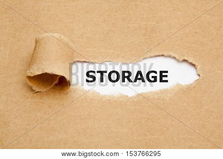 The word Storage appearing behind torn brown paper.