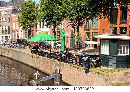 Groningen. August-05-2015. Outdoor terrace on the Hoge der Aa in the city of Groningen. The Netherlands