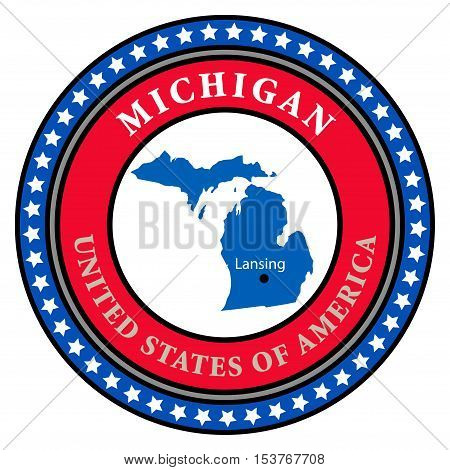 Label with name and map of Michigan, vector illustration