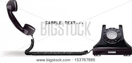 Old phone.  All elements and textures are individual objects. Vector illustration scale to any size.