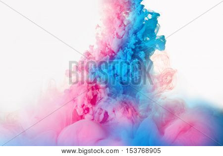 abstract cloud. Ink swirling in water, cloud of ink in water isolated on white. Abstract banner paints. Holi. Liquid ink. Background for banner, card, poster, poster, identity, web design.Juice.