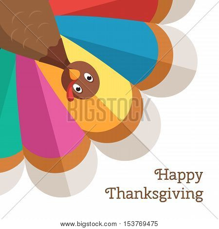 Colorful turkey bird for Happy Thanksgiving celebration. Vector illustration in cartoon style for web design, flyer, poster or greeting card