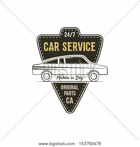Car service label. Vintage tee design graphics, retro colors typography print. Custom t-shirt stamp, teeshirt graphic. Use as emblem, logo on web. Vector.