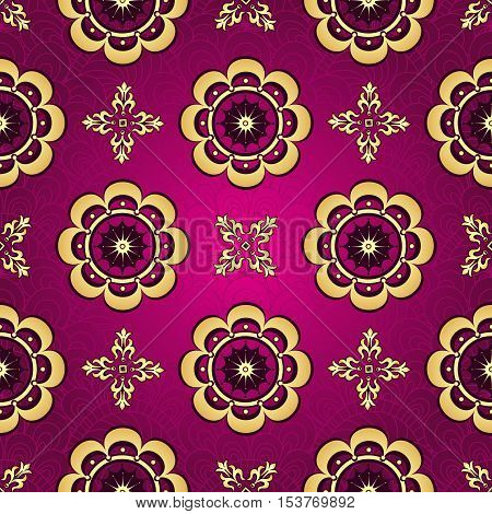 Purple seamless pattern with shiny gradient vintage flowers vector