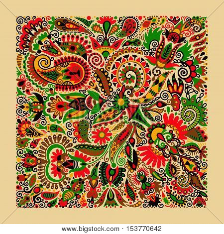 ukrainian traditional ethnic painting, floral pattern in ethno style, hand drawing vector illustration