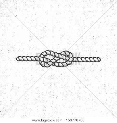 Nautical rope knot symbol on vintage roughen style. Monochrome vector design. Isolated on white background.