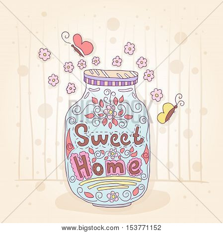 Sweet home. Bottle with an inscription. Small flowers. Gift card with butterflies. Drawing in pastel colors. Vintage illustration. Sweet Home background. Pink, blue soft colors. Hand drawing.