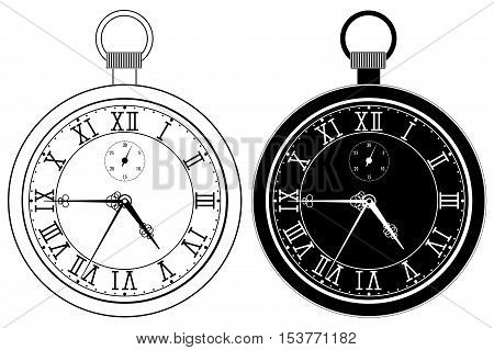 Pocket watch. Clock face with roman numerals. Vector illustration isolated on white background