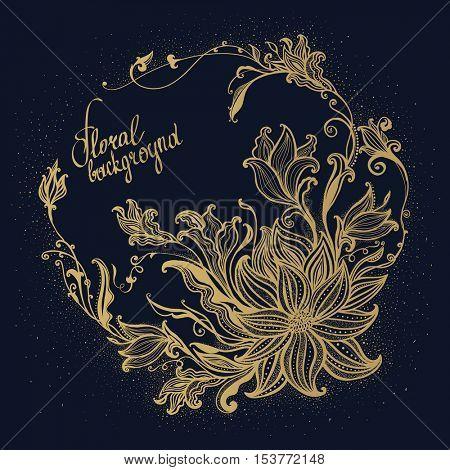 The raster version hand drawn flowers. Gold Flower frame. Vector vintage illustration. Decorative floral ornament.