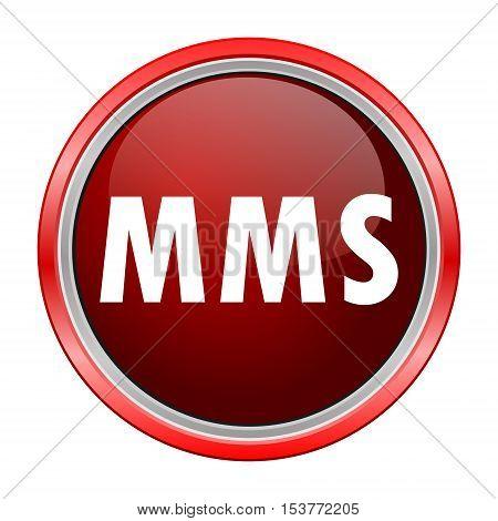 MMS round metallic red button, vector icon