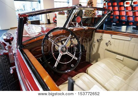 MUNICH GERMANY - DECEMBER 02 2015: Cabin view of Mercedes-Benz 320 Cabriolet D (W142) at Mercedes Me store at Odeonsplatz square in Munich Germany