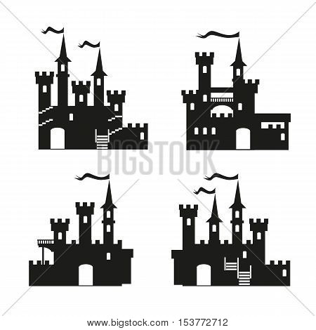 Medieval castle icon vector set. Castle tower silhouette. Knights, royal, princess castle sign, castle vector, castle wall