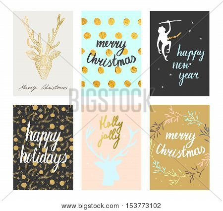 Vector Christmas and New Year cute postcard set. Deer silhoulettes, gold lettering and pastel tones. Merry Christmas Happy New Year Happy Holidays Holly Jolly postcards.