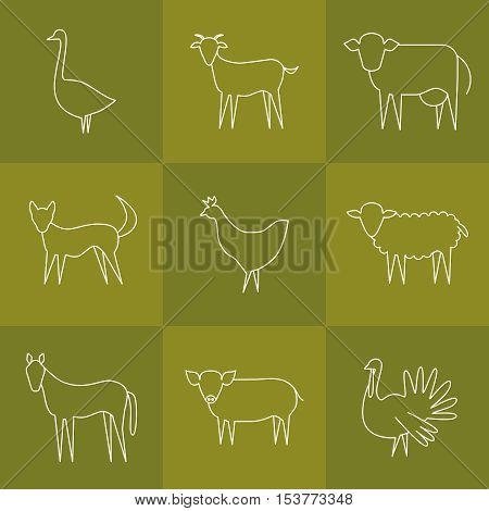 Vector farm animal modern line icons. Goose goat cow dog chicken sheep horse pig turkey.
