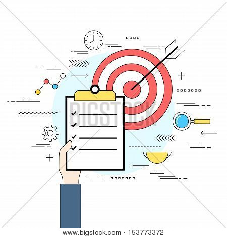 Business analysis and evaluation concept line style illustration