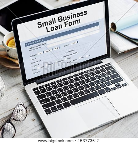 Small Business Loan Form Tax Credits Niche Concept