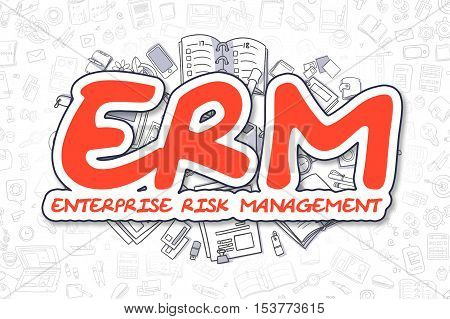 Red Text - ERM - Enterprise Risk Management. Business Concept with Doodle Icons. ERM - Enterprise Risk Management - Hand Drawn Illustration for Web Banners and Printed Materials.