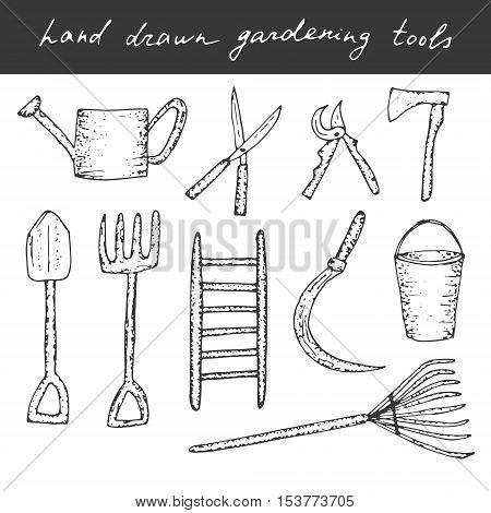 Vector hand drawn gardening, farming tools. Cute vector dooles.