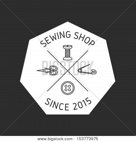 Tailor shop logo label emblem design. Scissors pin button spool.