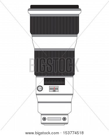 Professional Telephoto Lens Vector Image Isolated On White, Vertical.